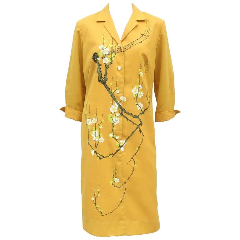 1960's Alfred Shaheen Hand Printed Hawaiian Shirt Dress