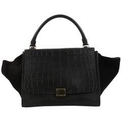 Celine Trapeze Handbag Crocodile Embossed Leather Medium