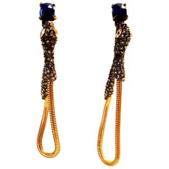 Signed Alexis Bittar Serpent Snake Drop Statement Earrings Estate Jewelry