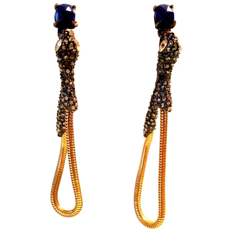 Signed Alexis Bittar Serpent Snake Drop Statement Earrings For