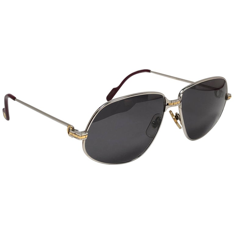 New Vintage Cartier Panthere 59MM Platine Heavy Plated Sunglasses France 18k