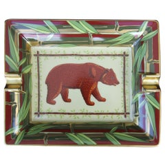 Hermès Printed Porcelain Cigar Ashtray Change Tray Bear In Bamboo 20 cm