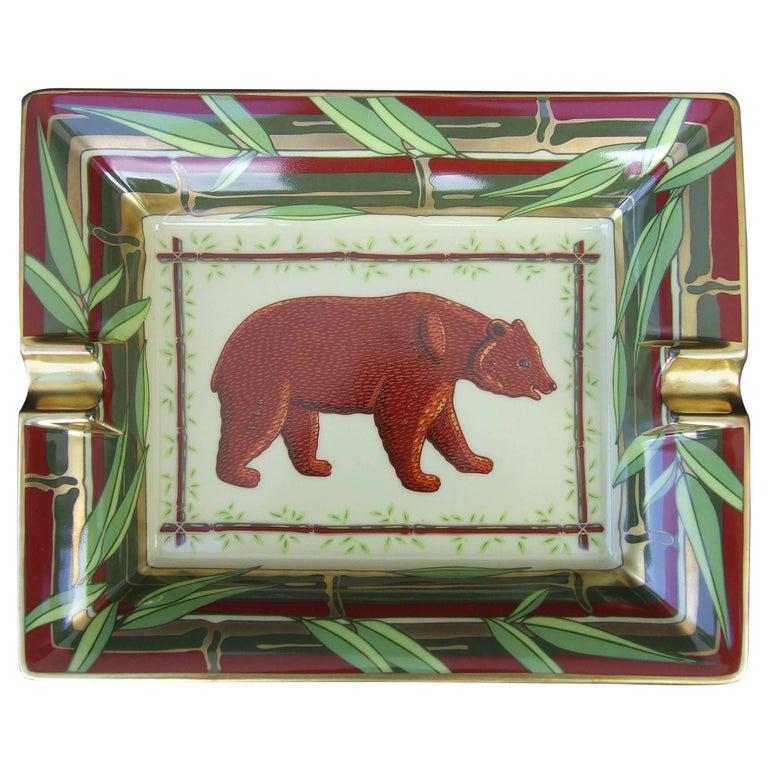 Hermès Printed Porcelain Cigar Ashtray Change Tray Bear In Bamboo 20 cm