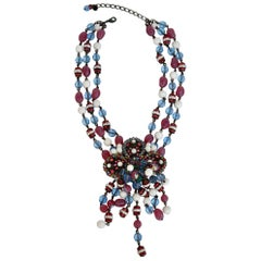 Francoise Montague Purple Blue and White Glass Statement Necklace