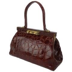 Classic 1950's Alligator Doctor's Bag Handbag With Key