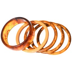 Apple Juice Swirl Bakelite Bracelets