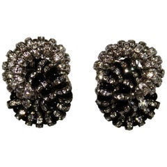 Francoise Montague Black, and Crystal Baghera Clip Earrings