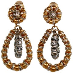 Francoise Montague Gold and Silver Crystal Lolita Earrings
