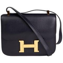 1998 Hermes Navy Box Calf Leather Vintage Constance 23cm