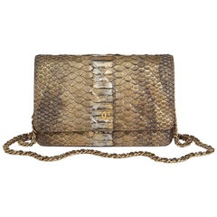 2013 Chanel Grey & Gold Metallic Python Leather Wallet-On-Chain WOC