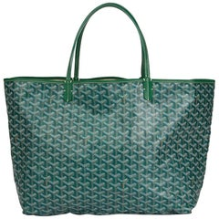 2011 Goyard Green Chevron Coated Canvas St Louis GM