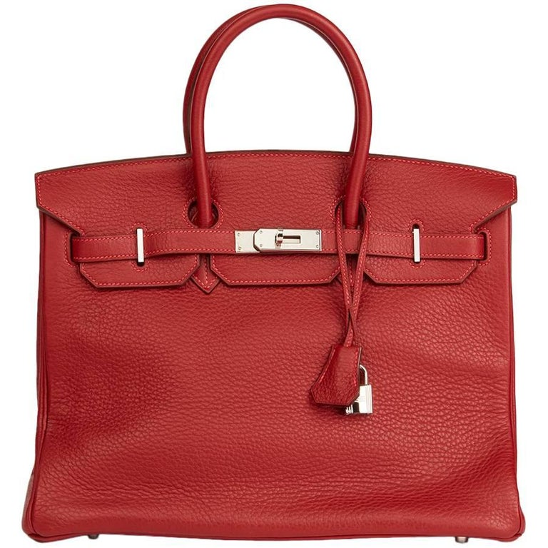 2006 Hermes Rouge Garance Fjord Leather Birkin 35cm