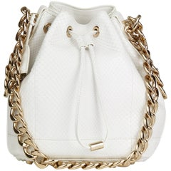 2015 Christian Dior White Python Leather Small Bubble Bucket Bag