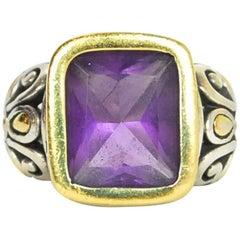 John Hardy Sterling, 18 Karat Gold and Amethyst Ring