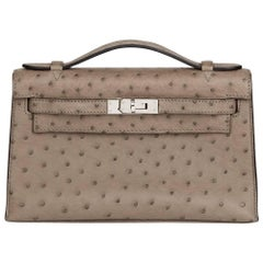 2012 Hermes Gris Tourterelle Ostrich Leather Kelly Pochette