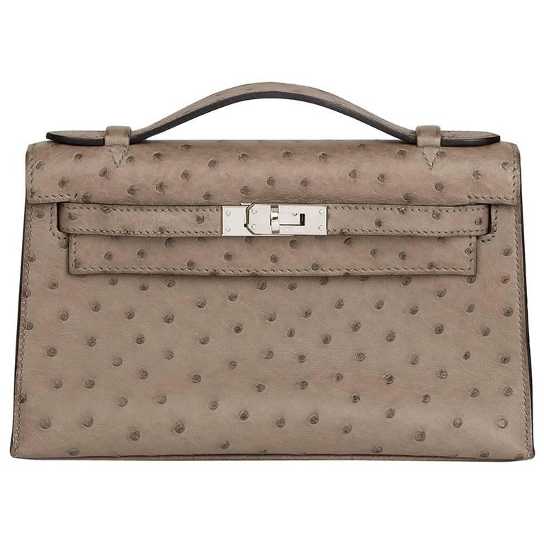 2012 Hermes Gris Tourterelle Ostrich Leather Kelly Pochette