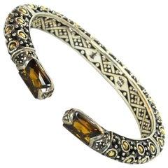 John Hardy Sterling, 18 Karat Gold and Topaz Jaisalmer Dot Hinge Cuff Bracelet
