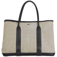 2004 Hermes Black Negonda Leather Beige Canvas Garden Party 36cm