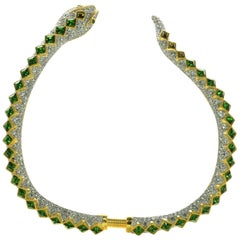 Signed Kenneth J Lane KJL Faux Diamond and Faux Emerald Snake Runway Necklace