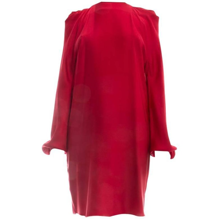 Lanvin Winter 2017 Red Dress with Gold Tone Neck Band - 6
