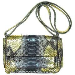 Nancy Gonzalez Grey & Gold Python Crossbody Bag w. Dust Bag rt. $2,750