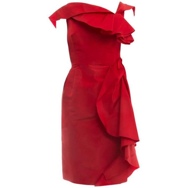 Oscar de la Renta Red Tafetta Ruffled Cocktail Dress - 6