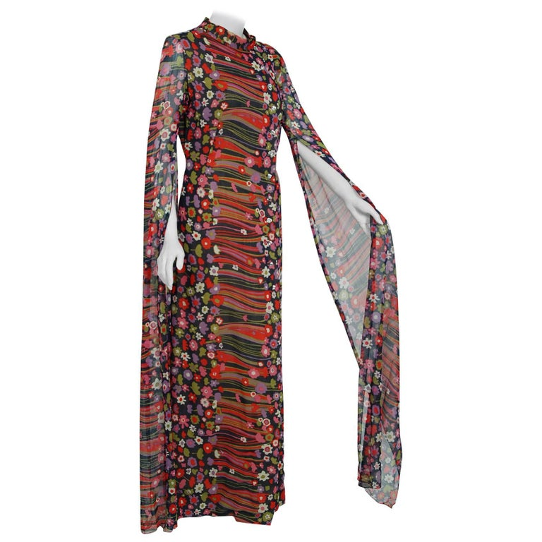 1960's Pauline Trigere Abstract Floral Cotton Kimono Angel-Sleeve Maxi Dress