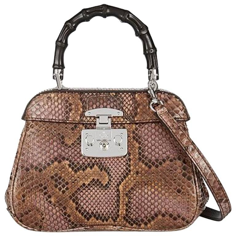 e95222e47 Gucci Python Leather Bamboo Kelly Style Top Handle Satchel Shoulder Bag For  Sale