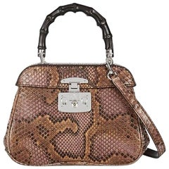 Gucci Python Leather Bamboo Kelly Style Top Handle Satchel Shoulder Bag