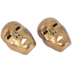 ' Theatrical mask' earrings in antiqued gilt, Isabel Canovas, 1980s, France