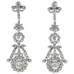 Edwardian silver paste long drop earrings, French, 1900s