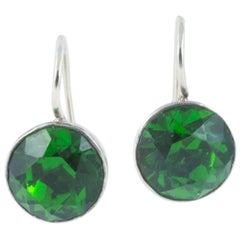 Georgian 'emerald' paste silver backed pierced earrings on 9k white gold hooks