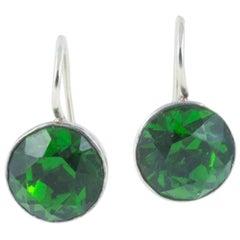 Georgian 'emerald' paste silver backed pierced earrings on 9k white gold hooks