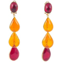 WW Collection orange and red poured glass drop earrings, 2017