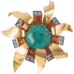 """Artisan gilt metal and paste """"sunburst"""" brooch / clip, France, 1960s"""