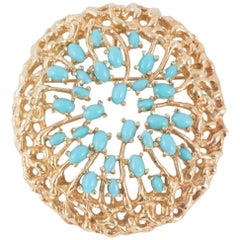 Panetta USA Organic Style Gilt and Turquoise Paste Pendant or Brooch, 1970s