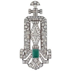 Silver and paste pendant with emerald paste stone France, 1920s