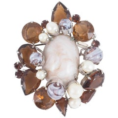 Large Paste, Marbled Paste and Pearl Brooch, Christian Dior, 1960