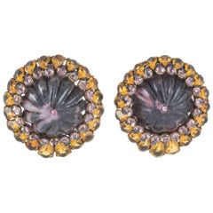 Rhodenite, citrine and rose quartz earrings, Iradj Moini, USA, 1980s