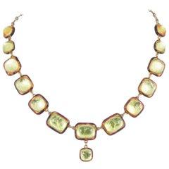 Luminous citrine resin necklace, France, 1960s