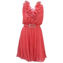 1960's Jack Bryan Coral Micro Pleated Chiffon Cocktail Dress