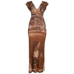 Vintage Jean Paul Gaultier Brown Mesh Portrait Dress