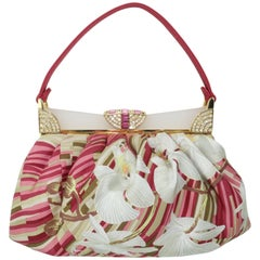 Judith Leiber Tropical Silk Handbag With Art Deco Style Frame