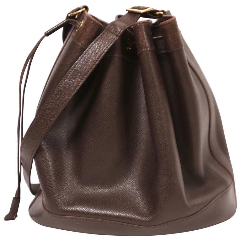 1984 Hermes Dark Brown Leather Market Bucket Bag