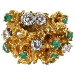 18K Gold Nugget Cocktail Ring with Diamonds and Emeralds
