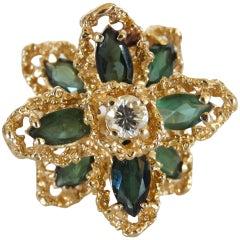3 Carat Green Tourmaline Flower Ring with Diamond, circa 1970s
