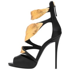 Giuseppe Zanotti New Black Leather Gold Leaf Evening Sandals Heels in Box