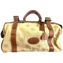 Vintage Mulberry beige logo jacquard fabric travel bag, duffle bag with leather.