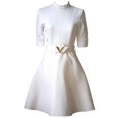 Louis Vuitton White-Creme A-Line Dress with Logo Belt
