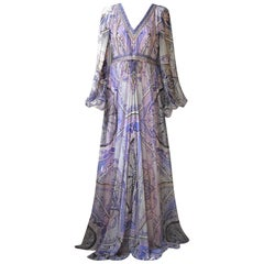 Emilio Pucci Printed Silk Chiffon Gown Dress